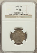 Liberty Nickels: , 1886 5C VF20 NGC. NGC Census: (9/308). PCGS Population (29/556).Mintage: 3,330,290. Numismedia Wsl. Price for problem free...
