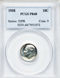Proof Roosevelt Dimes: , 1958 10C PR68 PCGS. PCGS Population (109/10). NGC Census: (232/93).Mintage: 875,652. Numismedia Wsl. Price for problem fre...