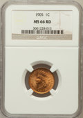 Indian Cents: , 1905 1C MS66 Red NGC. NGC Census: (114/8). PCGS Population (40/0).Mintage: 80,719,160. Numismedia Wsl. Price for problem f...