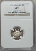 Seated Half Dimes: , 1853 H10C Arrows AU55 NGC. NGC Census: (63/896). PCGS Population(104/690). Mintage: 13,210,020. Numismedia Wsl. Price for ...