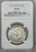 Commemorative Silver: , 1935 50C Arkansas MS64 NGC. NGC Census: (446/486). PCGS Population(607/670). Mintage: 13,012. Numismedia Wsl. Price for pr...