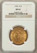 Liberty Eagles: , 1905 $10 MS63 NGC. NGC Census: (290/223). PCGS Population(216/104). Mintage: 200,900. Numismedia Wsl. Price for problemfr...