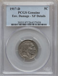 Buffalo Nickels: , 1917-D 5C -- Environmental Damage -- PCGS Genuine. XF Details. NGCCensus: (15/678). PCGS Population (27/1007). Mintage: 9,...