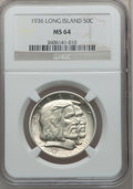 Commemorative Silver: , 1936 50C Long Island MS64 NGC. NGC Census: (1817/1534). PCGSPopulation (2246/1630). Mintage: 81,826. Numismedia Wsl. Price...