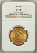 Liberty Eagles: , 1905 $10 MS64 NGC. NGC Census: (188/34). PCGS Population (78/24).Mintage: 200,900. Numismedia Wsl. Price for problem free ...