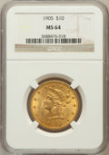 Liberty Eagles: , 1905 $10 MS64 NGC. NGC Census: (189/34). PCGS Population (79/25).Mintage: 200,900. Numismedia Wsl. Price for problem free ...