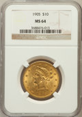 Liberty Eagles: , 1905 $10 MS64 NGC. NGC Census: (188/34). PCGS Population (79/26).Mintage: 200,900. Numismedia Wsl. Price for problem free ...