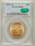 Liberty Eagles: , 1891-CC $10 MS60 PCGS. CAC. PCGS Population (250/788). NGC Census:(256/1176). Mintage: 103,732. Numismedia Wsl. Price for ...