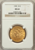 Liberty Eagles: , 1905 $10 MS64 NGC. NGC Census: (188/34). PCGS Population (81/26).Mintage: 200,900. Numismedia Wsl. Price for problem free ...