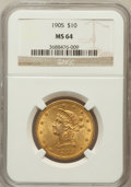 Liberty Eagles: , 1905 $10 MS64 NGC. NGC Census: (188/34). PCGS Population (79/25).Mintage: 200,900. Numismedia Wsl. Price for problem free ...