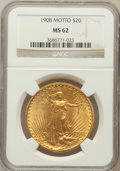 Saint-Gaudens Double Eagles: , 1908 $20 Motto MS62 NGC. NGC Census: (749/720). PCGS Population(579/1257). Mintage: 156,200. Numismedia Wsl. Price for pro...