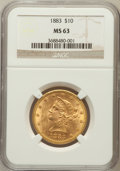 Liberty Eagles: , 1883 $10 MS63 NGC. NGC Census: (98/5). PCGS Population (77/2).Mintage: 208,740. Numismedia Wsl. Price for problem free NGC...