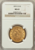 Liberty Eagles: , 1893-S $10 MS63 NGC. NGC Census: (16/3). PCGS Population (47/4).Mintage: 141,350. Numismedia Wsl. Price for problem free N...