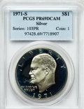 Proof Eisenhower Dollars: , 1971-S $1 Silver PR69 Deep Cameo PCGS. PCGS Population (18540/9).NGC Census: (1631/0). Numismedia Wsl. Price for problem ...