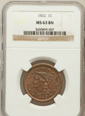 Large Cents: , 1852 1C MS63 Brown NGC. NGC Census: (112/419). PCGS Population(98/260). Mintage: 5,063,094. Numismedia Wsl. Price for prob...