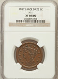 Large Cents, 1857 1C Large Date XF40 NGC. N-1. NGC Census: (15/501). PCGSPopulation (18/390). Mintage: 333,456. Numismedia Wsl. Price f...