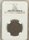 Large Cents, 1811 1C Fine 15 NGC. S-287. NGC Census: (4/32). PCGS Population(8/79). Mintage: 218,025. Numismedia Wsl. Price for problem...
