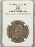 Bust Half Dollars, 1829 50C Small Letters XF40 NGC. O-105. NGC Census: (68/946). PCGSPopulation (157/1055). Mintage: 3,712,156. Numismedia Ws...