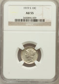 Mercury Dimes: , 1919-S 10C AU55 NGC. NGC Census: (10/171). PCGS Population(25/227). Mintage: 8,850,000. Numismedia Wsl. Price for problem ...