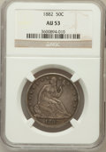 Seated Half Dollars: , 1882 50C AU53 NGC. NGC Census: (1/48). PCGS Population (0/78).Mintage: 4,400. Numismedia Wsl. Price for problem free NGC/P...