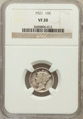 Mercury Dimes: , 1921 10C VF20 NGC. NGC Census: (25/249). PCGS Population (48/364).Mintage: 1,230,000. Numismedia Wsl. Price for problem fr...