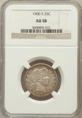 Barber Quarters: , 1900-S 25C AU58 NGC. NGC Census: (22/38). PCGS Population (32/70).Mintage: 1,858,585. Numismedia Wsl. Price for problem fr...