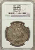 Trade Dollars, 1873-CC T$1 -- Scratches -- NGC Details. XF. NGC Census: (2/106).PCGS Population (23/162). Mintage: 124,500. Numismedia Ws...