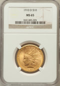 Indian Eagles: , 1910-D $10 MS65 NGC. NGC Census: (208/54). PCGS Population (83/30).Mintage: 2,356,640. Numismedia Wsl. Price for problem f...