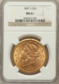 Liberty Double Eagles: , 1887-S $20 MS61 NGC. NGC Census: (322/214). PCGS Population(211/399). Mintage: 283,000. Numismedia Wsl. Price for problem ...