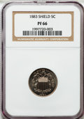 Proof Shield Nickels: , 1883 5C PR66 NGC. NGC Census: (223/45). PCGS Population (191/23).Mintage: 5,419. Numismedia Wsl. Price for problem free NG...