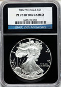 Modern Bullion Coins, 2002-W $1 Silver Eagle PR70 Ultra Cameo NGC 25th AnniversaryHolder. NGC Census: (3520). PCGS Population (1184). Numismedi...