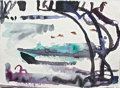 Fine Art - Painting, American:Contemporary   (1950 to present)  , TRISTAN BARLOW (American). BENEFITTING ROME ART PROGRAM.Borghese Row Boats, 2012. Watercolor on handmade paper. 14...