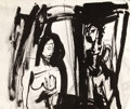 Fine Art - Painting, American:Contemporary   (1950 to present)  , JUDITH S LAVENDAR (American). BENEFITTING ROME ART PROGRAM. TheLife Room, 2012. Ink on paper. 14 x 18 inches (35.6 ...