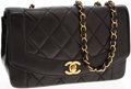 Luxury Accessories:Bags, Chanel Black Lambskin Leather Small Single Flap Bag with GoldHardware. ...