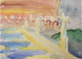 Fine Art - Painting, American:Contemporary   (1950 to present)  , GWYNN MURRILL (American). BENEFITTING ROME ART PROGRAM. PonteAngeli (Castle Sant'Angelo), 2010 . Watercolor on pape...