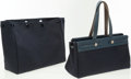 Luxury Accessories:Bags, Hermes Blue Marine Leather & Toile Herbag Cabas PM Tote Bag.... (Total: 2 Items)