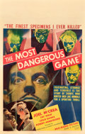 "Movie Posters:Horror, The Most Dangerous Game (RKO, 1932). Window Card (14"" X 22"").. ..."