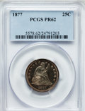 Proof Seated Quarters: , 1877 25C PR62 PCGS. PCGS Population (28/93). NGC Census: (13/95).Mintage: 510. Numismedia Wsl. Price for problem free NGC/...