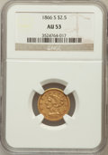 Liberty Quarter Eagles: , 1866-S $2 1/2 AU53 NGC. NGC Census: (20/54). PCGS Population(6/16). Mintage: 38,900. Numismedia Wsl. Price for problem fre...