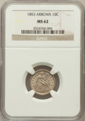Seated Dimes: , 1853 10C Arrows MS62 NGC. NGC Census: (91/416). PCGS Population(66/388). Mintage: 12,078,010. Numismedia Wsl. Price for pr...