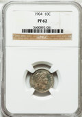 Proof Barber Dimes: , 1904 10C PR62 NGC. NGC Census: (21/170). PCGS Population (39/227).Mintage: 670. Numismedia Wsl. Price for problem free NGC...