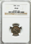 Proof Three Cent Nickels: , 1883 3CN PR63 NGC. NGC Census: (79/1184). PCGS Population(156/1379). Mintage: 6,609. Numismedia Wsl. Price for problemfre...