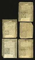 Colonial Notes:Mixed Colonies, Five Uncancelled Connecticuts 1776-1780 Very Fine-About New....(Total: 5 notes)