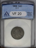 1806 1/2 C Small 6, No Stems VF20 ANACS. C-1. NGC Census: (18/357). PCGS Population (11/281). Mintage: 356,000. Numismed...