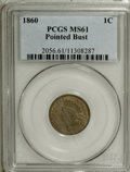 Indian Cents: , 1860 1C Pointed Bust MS61 PCGS. PCGS Population (2/132). (#2056)...