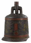 Asian:Chinese, A Chinese Cast Bronze Bell. Unknown maker, Chinese. 19th century.Bronze, paint. Unmarked. 32 inches high x 24 inches wide...