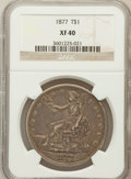Trade Dollars: , 1877 T$1 XF40 NGC. NGC Census: (20/413). PCGS Population (57/446).Mintage: 3,039,710. Numismedia Wsl. Price for problem fr...