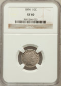 Barber Dimes: , 1894 10C XF40 NGC. NGC Census: (6/134). PCGS Population (12/202).Mintage: 1,330,972. Numismedia Wsl. Price for problem fre...
