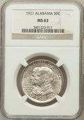 Commemorative Silver: , 1921 50C Alabama MS62 NGC. NGC Census: (125/1573). PCGS Population(156/1758). Mintage: 59,038. Numismedia Wsl. Price for p...