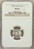 Modern Bullion Coins: , 2000 P$10 Tenth-Ounce Platinum Eagle MS69 NGC. NGC Census:(1591/290). PCGS Population (1439/2). Mintage: 34,027. Numismedi...